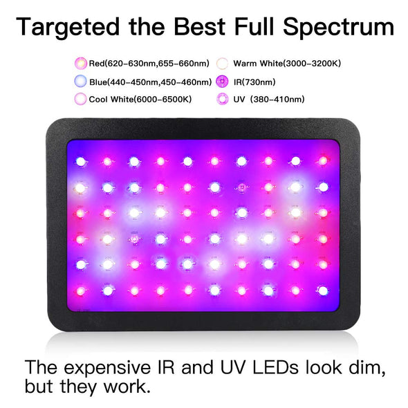 1200W LED Grow Light, Full Spectrum Plant Light with Veg and Bloom Double Switch, Adjustable Rope, Grow Lamp for Indoor Plants Veg and Flower