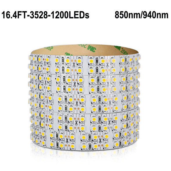 IR InfraRed 850nm/940nm Double Row LED Strip Lights 12V 1200units SMD3528 5M(16.4ft) by iCreating 2020 New Design