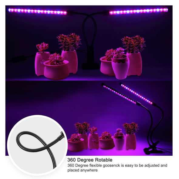 LED Grow Light, 40W Dual Head Timing 5 Dimmable Levels Plant Grow Lights for Indoor Plants with Red Blue Spectrum, Adjustable Gooseneck, 3 6 12H Timer, 3 Switch Modes