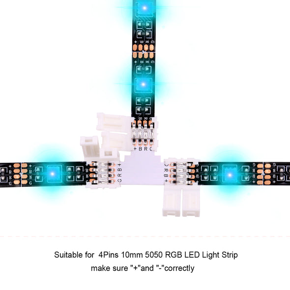5050 4Pin RGB LED Strip Connector Kit - LED Connector Kit includes 20x L Shape Connectors, 20x Gapless Connectors, 2x T Shape Connector, 20x LED Strip Clips, 10x 4 Pin Male to Male Connector
