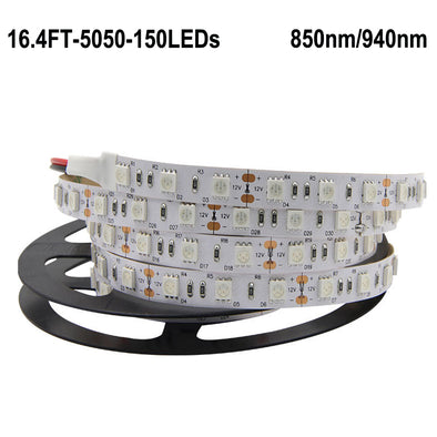 IR InfraRed 850nm/940nm DC 12V SMD5050 Flexible LED Strip Lights 30 LEDs Per Meter 5M(16.4FT) by iCreating 2020 New Design