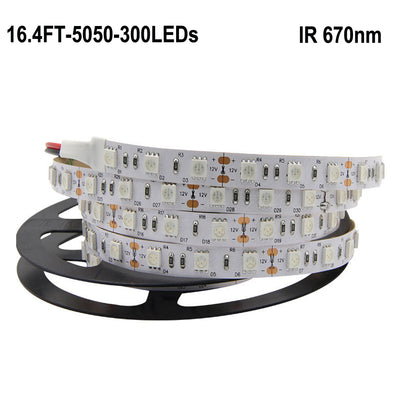 670NM Red DC 12V SMD5050 Flexible LED Strip Lights 60 LEDs Per Meter 5M(16.4FT)