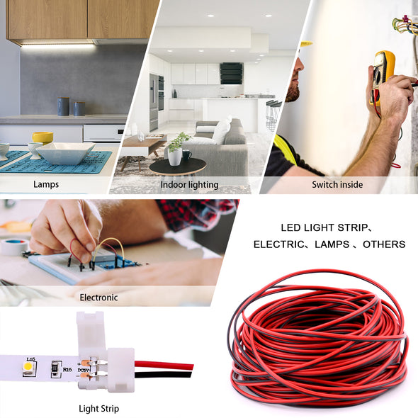 3528 2 Pin LED Strip Connector Kit - Includes 66ft Extension Cable Wire Cord, 10x LED Strip Light Connector Pigtail, 10X Gapless Connectors, 20X LED Strip Clips for LED Strip Light Single Color 3528