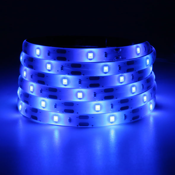 Blue LED Strip Lights - iCreating 2020 New Design Battery Powered LED Light Strip Kit with 6.6FT 2M SMD 3528 IP65 Waterproof Super Bright LED Tape Light, Battery Case