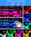 Dreamcolor Car Interior LED Strip Lights with APP and IR Remote, Upgraded 2-in-1 Design 4PCS 72 LEDs Interior Car Lights, DIY Color LED Lighting Kits Sync to Music with Super Length Wires for Various Car