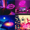 Pink Lip LED Neon Sign - LED Neon Light Wall Signs Battery or USB Operated Art Decorative Lights Wall Decor for Home Children Baby Living Room Christmas Wedding Party Decoration