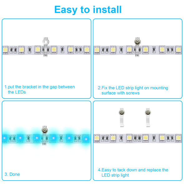 200 Pack LED Strip Clips - iCreating LED Light Strip Mounting Bracket Clips for 10mm Wide IP65 Waterproof 5050 3528 2835 5630 LED Strip Light, One Side Fixing, with 200pcs Screws and 1pcs Screwdriver