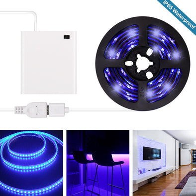 UV Black Light LED Strip - Battery Operated USB UV Light Strip Kit with 6.6FT 2M SMD 3528 IP65 Waterproof Super Bright UV LED Strip Lights USB, Battery Case by iCreating 2020 New Design