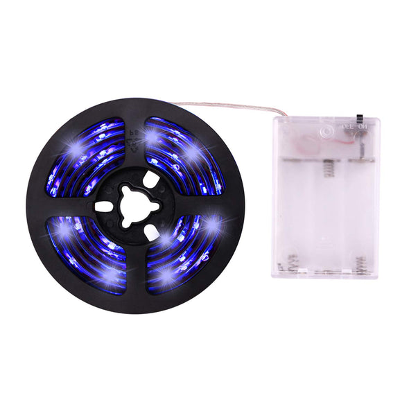 UV Light Strip Ultraviolet Battery Operated LED Black Light Strip Kit with 6.6FT 2M 60Units SMD 3528 IP65 Waterproof Super Bright LED Strip Lights, Battery Case by iCreating 2020 New Design