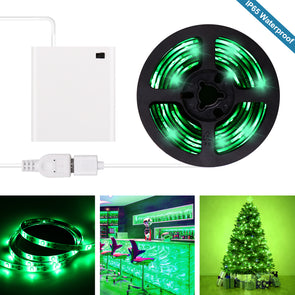 Green LED Strip Lights - 2020 New Design Battery Powered Green LED Light Strip Kit with 6.6FT 2M SMD 3528 IP65 Waterproof Super Bright LED Tape Light, Battery Case