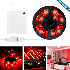 Red LED Strip Lights - Battery Powered Red LED Light Strip Kit with 6.6FT 2M SMD 3528 IP65 Waterproof Super Bright LED Tape Light, Battery Case by iCreating 2020 New Design