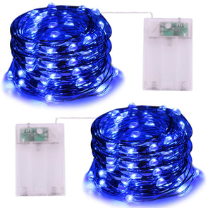 Battery Operated Blue String Lights - iCreating 2Pack 16.4ft Mini Battery Powered LED String Lights Fairy Lights Copper Wire Lights Twinkle Firefly Lights for Christmas Party Wedding Bedroom Garden Decoration