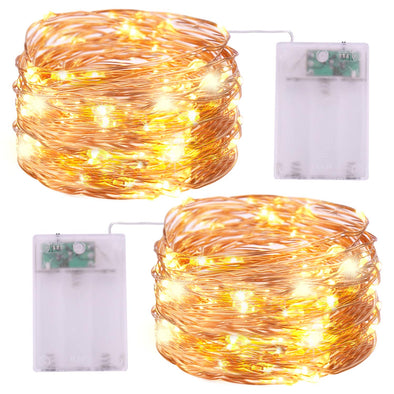 Battery Operated String Lights - iCreating 2Pack 16.4ft Warm White Mini Battery Powered LED String Lights Fairy Lights Copper Wire Lights Twinkle Firefly Lights for Christmas Party Wedding Bedroom Garden Decoration