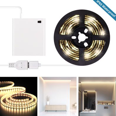 Battery Operated LED Strip Lights - 2020 New Design Warm White USB LED Light Strip Kit with 6.6FT 2M SMD 3528 IP65 Waterproof Super Bright LED Tape Light, Battery Box