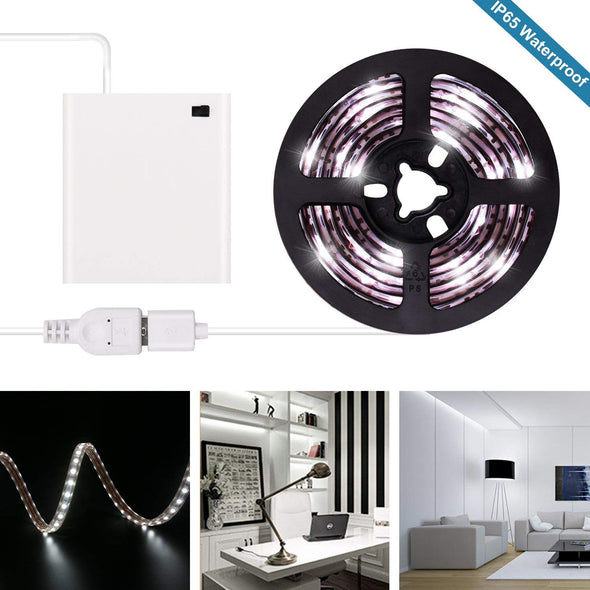 Battery Operated LED Strip Lights - iCreating 2020 New Design Cool White USB LED Light Strip Kit with 6.6FT 2M SMD 3528 IP65 Waterproof Super Bright LED Tape Light, Battery Box