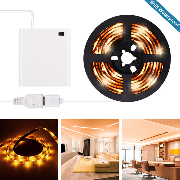 Yellow LED Strip Lights - Battery Powered Yellow LED Light Strip Kit with 6.6FT 2M SMD 3528 IP65 Waterproof Super Bright LED Tape Light, Battery Case by iCreating 2020 New Design