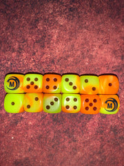 Mythicos Studios Yellow and Orange Dice Set (D6) (Set of 12) | Mythicos