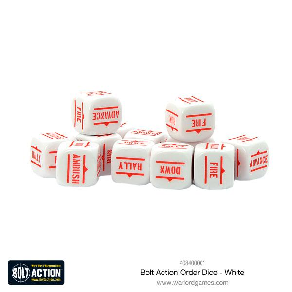Bolt Action Order Dice White | Mythicos