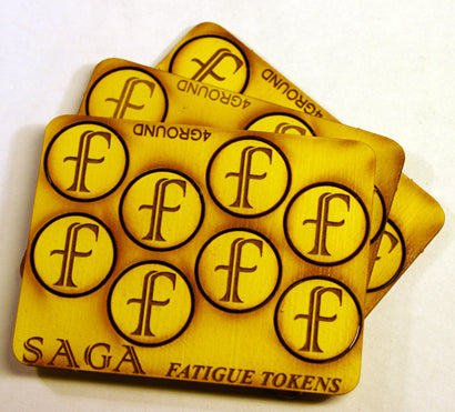 'f' Fatigue Markers (24 painted MDF tokens) | Mythicos
