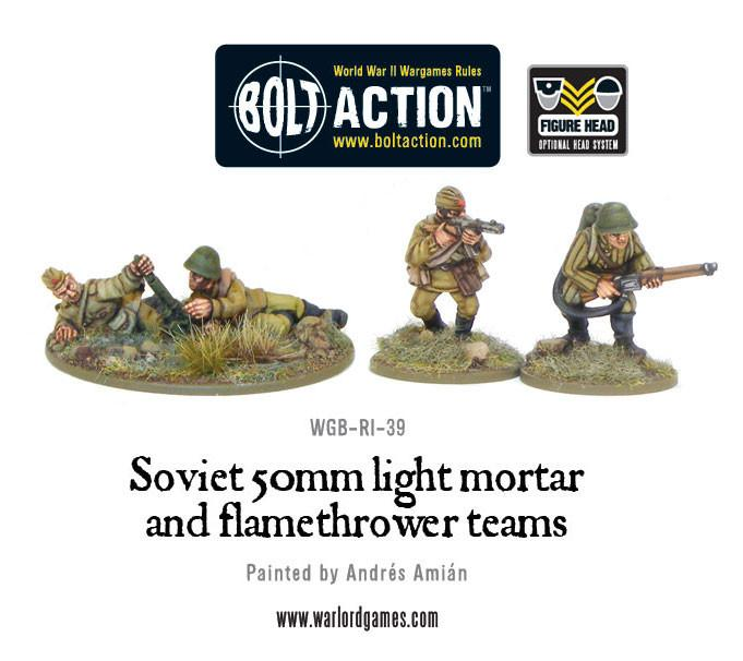Soviet 50mm light mortar and Flamethrower teams | Mythicos