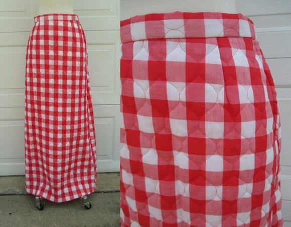 99b883fcc1 Red & White Quilted Gingham Maxi 70s Boho Full Length Skirt Side Zip Size XS