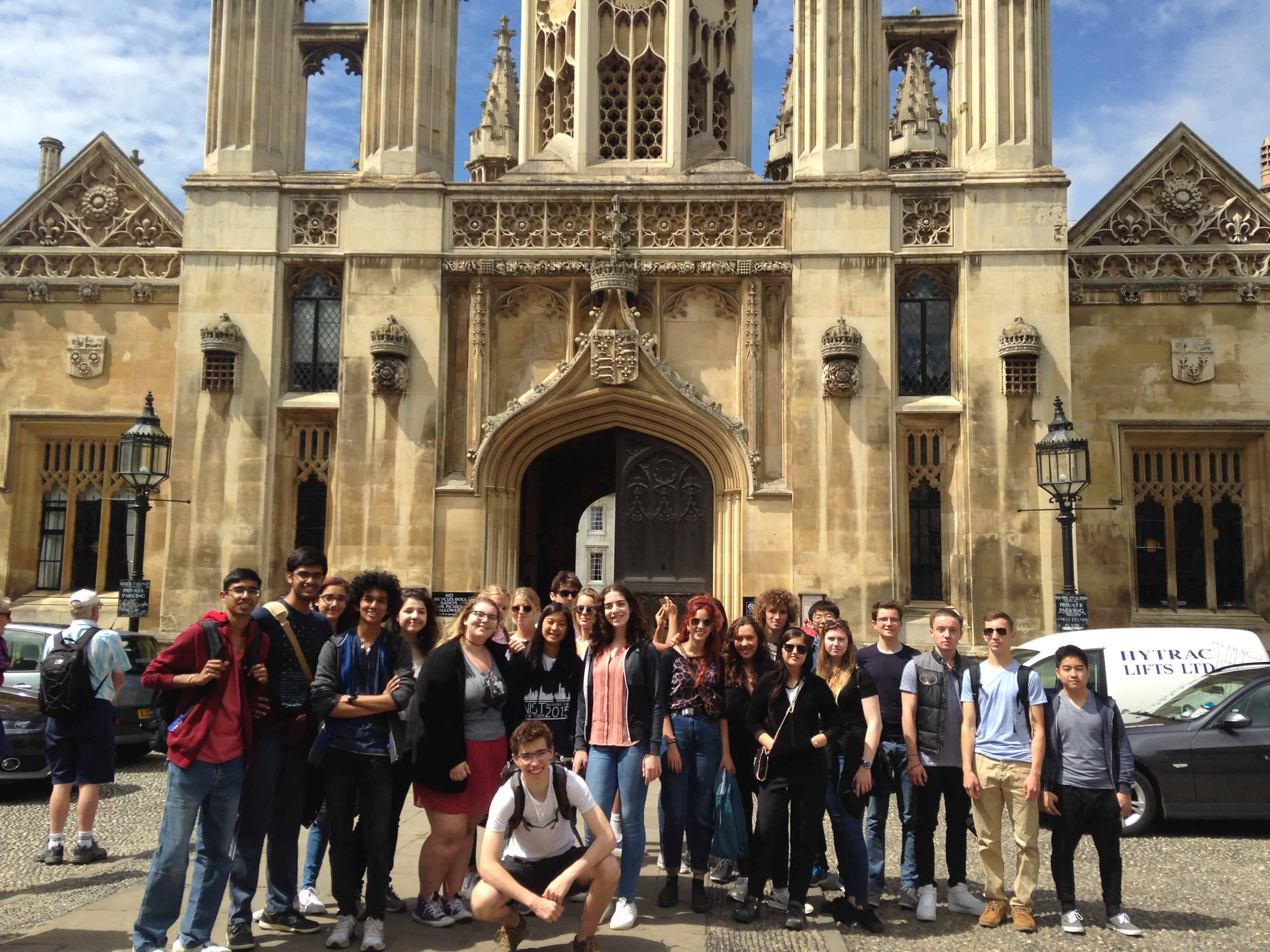Summer school students visiting King's College part of the University of Cambridge