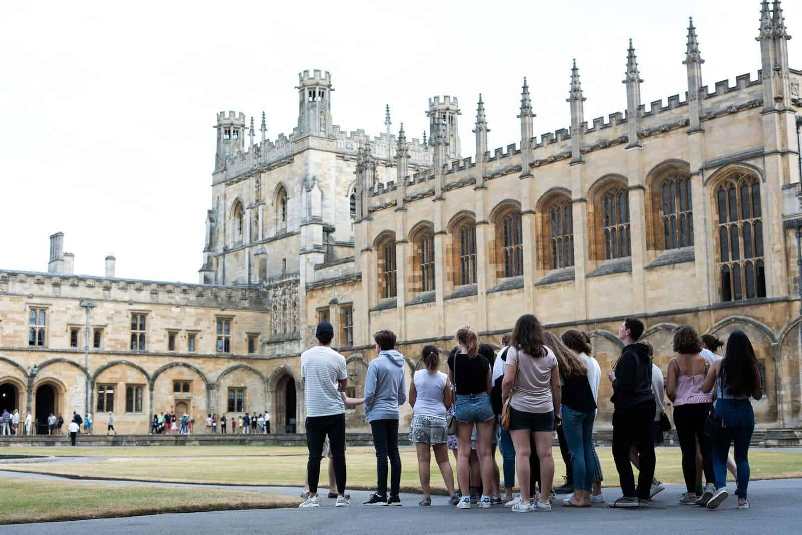 Student on a group guided tour of Oxford