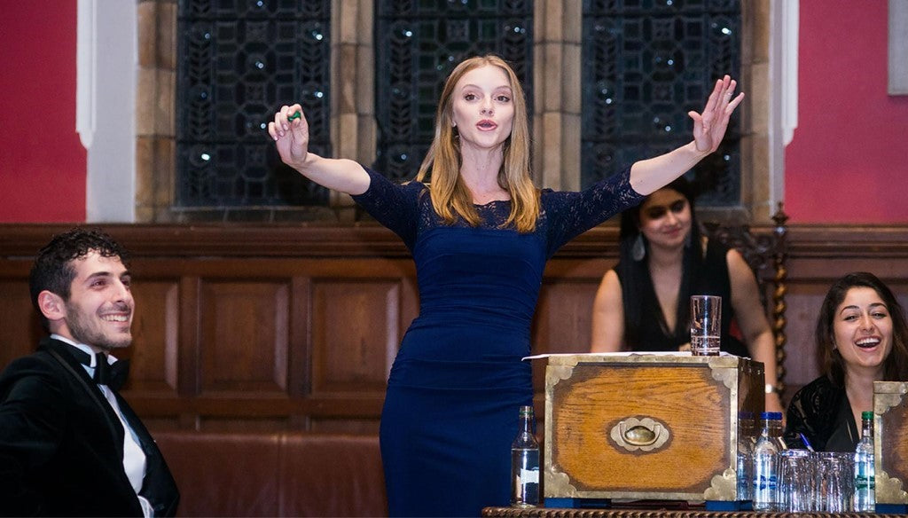 Student at Oxford Union for debate