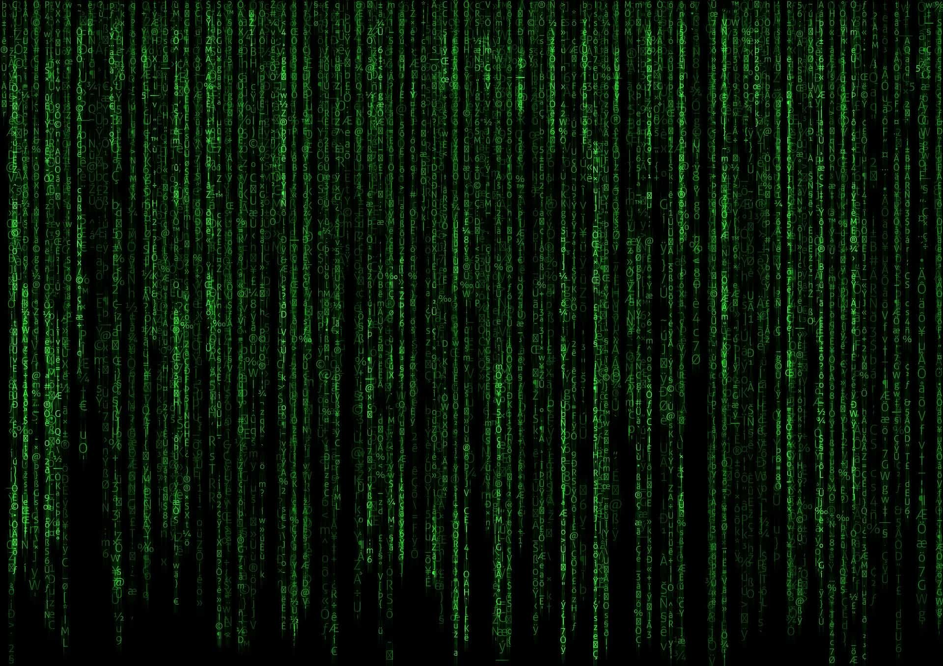 Green data cascading down the screen, like the matrix