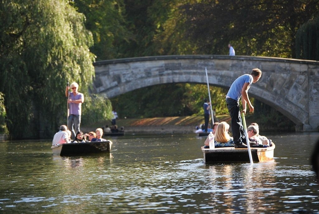 Punting down the rivers in the University of Cambridge