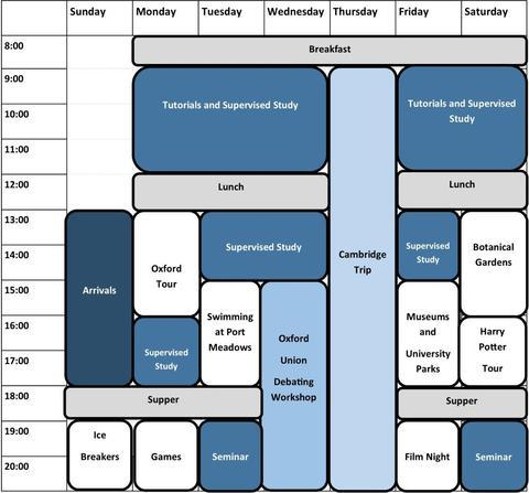 Example timetable for our Oxford Summer School showing tutorial and leisure time for week one