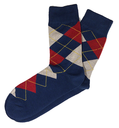 Navy Cotton Argyle