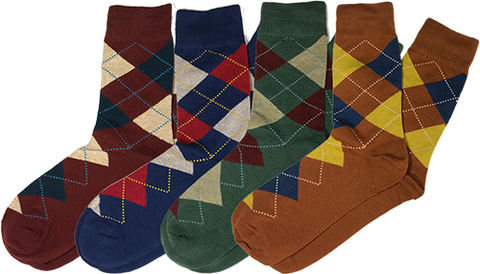 Four Pack of Cotton Argyle Socks