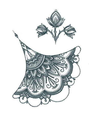 Sternum Mehndi Ornament and Flower