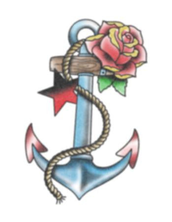 anchor star and rose tattoo, temporary tattoo, anchor and rose tattoo design