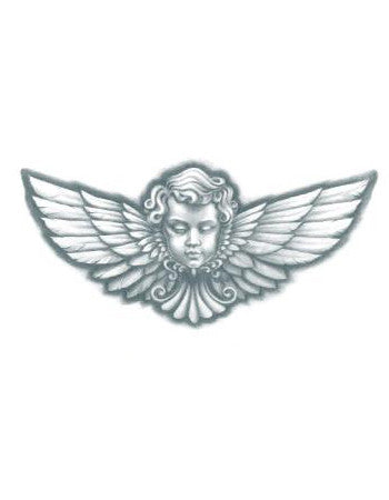 angel tattoo, angel head with wings tattoo design, angel head with wings temporary tattoo