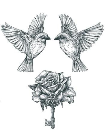 bird rose and key tattoo, flying birds tattoo, beautiful birds and rose temporary tattoo