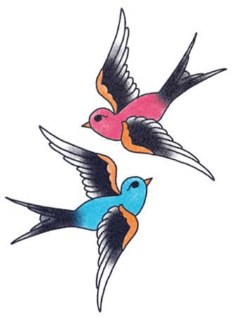 traditional swallows tattoo, blue and red swallow temporary tattoo