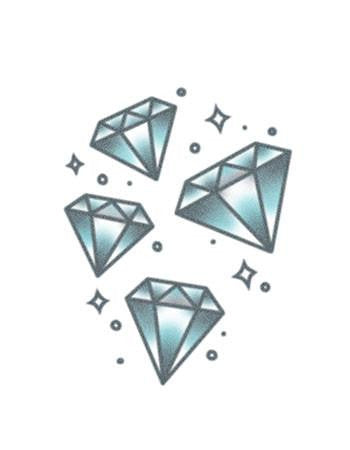 diamond tattoo, blue diamond with stars tattoo temporary tattoo