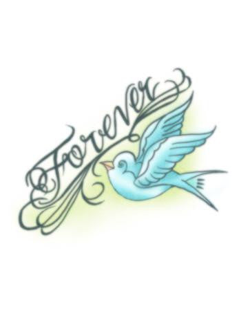 "blue swallow temporary tattoo, blue swallow bird tattoo with word ""Forever"""