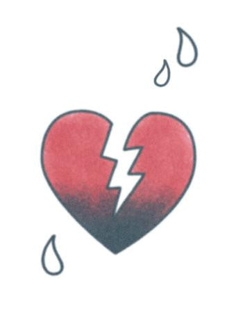 broken heart temporary tattoo, broken heart with tears tattoo design