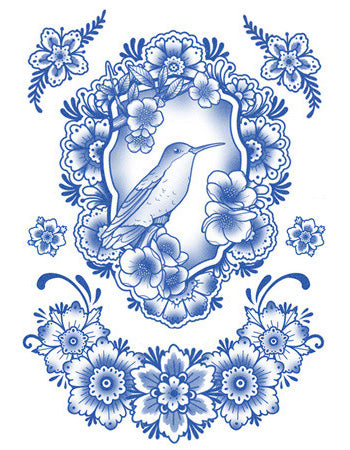 Delft Birds and Flowers - Set 04