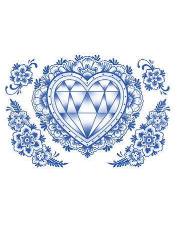 Delft Diamond Heart and Flowers