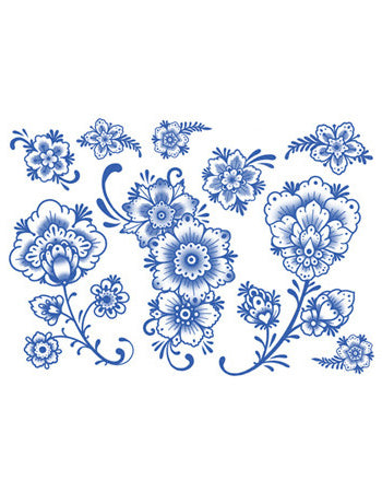 Delft Floral Ornaments - 02