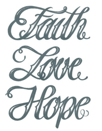 Faith Love Hope Script Tattoo