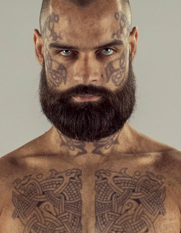 "Harald ""Finehair"" Chest & Face Tattoo Set- Viking Tv Series"