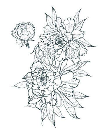 Peonies Outline (Small- Left Side)