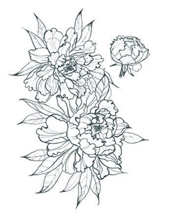 Peonies Outline (Small- Right Side)