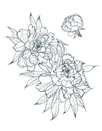 Peonies Outline Tattoo (Big)