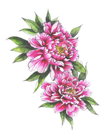 Peonies Colour Tattoo (Small)